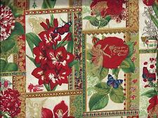 Floral Cream Red Gold Christmas Blocks Butterfly Angel curtain valance