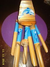 Natural Ring Handcarved Blue Dolphin Painted 6-tubes Bamboo Wood Wind Chimes