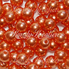 10mm Orange Acrylic Round Pearl Spacer Beads for pendant Bubblegum necklace diy