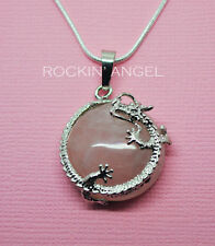 925 Silver Necklace Pendant with Natural Rose Quartz Dragon Charm Reiki Healing