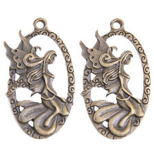 10pcs Wholesale Antique Bronze Mermaid Oval Charms Zinc Alloy Pendant Jewelry BS