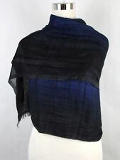 New Bottega Veneta Blue Black Cashmere Silk Long Scarf 298683 1068