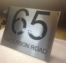 Stainless Steel and Perspex Custom Made House Number Sign Laser Cut Plaque Sign