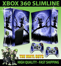 XBOX 360 FINA PEGATINA LUZ DE LA LUNA GOTHIC FAIRY SILUETA WINGS PIEL & 2 PAD