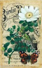 Fabric Block Vintage White Flower Sheet Music Butterfly Chic Shabby