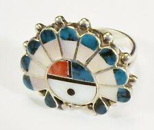 Unsigned - Zuni - Sun Face with Headdress / Sun Chief Ring - Size 5 1/4  VINTAGE