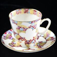 Russian Imperial Lomonosov Porcelain Bone Tea cup & saucer White Patterns Gold