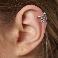 Womens Frog Ear Cuff Solid 925 Sterling Silver Single Earring No Piercing AH94