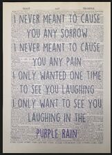 'Purple Rain' Prince Music Lyrics Vintage Dictionary Wall Art Print Picture