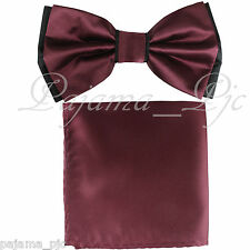 Wedding Black Burgundy Pre-tied Bow tie and Pocket Square Hankie Two Layers