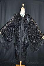 Art to Black Silk Burnout Velvet Fringe Kimono Opera Coat Duster Jacket New D028