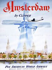 TRAVEL TOURISM TRANSPORT AMSTERDAM WINDMILL CANAL AIRLINE USA POSTER LV4264