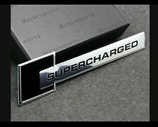 New Supercharged Sports Sticker Black 3D Chrome Badge Logo Sticker Car & Bike
