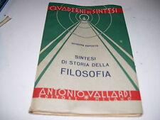 LIBRO SINTESI DI STORIA DELLA FILOSOFIA GIUSEPPE ESPOSITO VALLARDI 1952