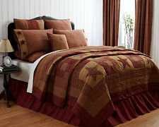 Ninepatch Star Twin Quilt Cotton Quilted Bedspread Burgundy/Tan Patchwork Quilt
