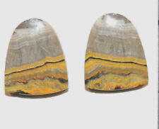 BumbleBee Jasper Cabochons 20x16.5mm from Indonesia 4mm thick set of 2 (11549)