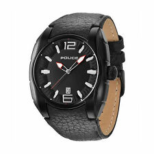 NWT Police 13752JSB/02A New Hampshire Black Dial and Leather Quartz Mens Watch