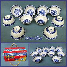 10er-Set  Reisschalen Suppenschüsseln Dips  Ø13cm  asia  Porzellan  Blau Weiß