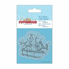 Papermania 75 x 75mm Mini Trasparente Timbro - Pippinwood Natale - Slitta