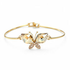 Swarovski Element Crystal Sparkly Champagne Gold Butterfly Charm Bracelet Bangle