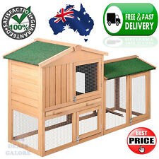 Rabbit Hutch Chicken Coop Cage Guinea Pig Ferret House w/ 2 Storeys Run Home