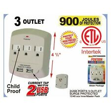 3 Outlet Surge Protector Indicator Wall current tap with 2 USB Ports 900 Joules
