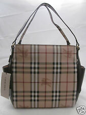 NWT Burberry Haymarket Canterbury Tote Shoulder bag Purse Dark Chocolate
