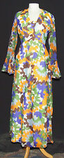 GROOVY VINTAGE SIMON ELLIS PSYCHEDELIC MAXI PARTY & FESTIVAL DRESS 10 1970's