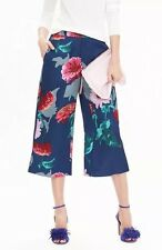 BANANA REPUBLIC Watercolor Floral Gaucho Cropped Pants Wide Leg Blue Size 6 NWT