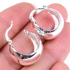 925 Stamped Sterling Silver Exquisite 20mm Wide Hoop Earrings Jewelry E355