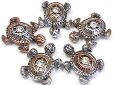 5 - 2 HOLE SLIDER BEADS TRI COLOR MIXED METALS CLEAR CRYSTAL TURTLES, TORTOISE