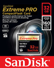 SANDISK EXTREME PRO COMPACT FLASH 32GB 160MB/S 1067x CF MEMORY CARD 4K HD VPG-65