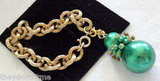 Vintage Sarah Coventry Thick Link Chain BRACELET Green Glass Pearl Bauble Charm