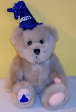 "2001 Hershey's 10"" Teddy Bear Blue Party Hat Plush Stuffed Animal Bear"