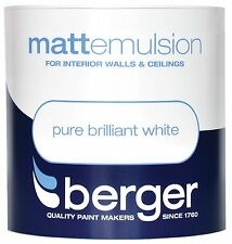 Berger Matt Emulsion Pure Brilliant White - Walls & Ceillings Paint 3L