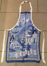 Vintage Willow Pattern By Ulster #4753 Cooks Apron 100% Irish Linen