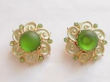 VINTAGE 1950'S GREEN FROSTED GLASS ENAMEL & CRYSTAL GOLD TONE CLIP ON EARRINGS
