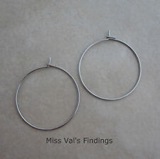400 stainless steel earring wires or wine glass charm hoops 21 gauge 25mm