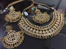 Latest 3 Pcs Combo Indian Kundan Bridal Wedding Gold Plated Necklace Jewelry Set
