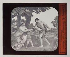ANTIQUE 1880'S MAGIC LANTERN GLASS SLIDE - ROMULUS & REMUS BY PIETRO BERRETTINI