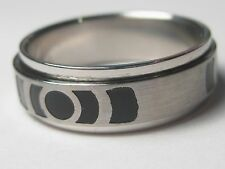 New Stainless Steel Spinning Wedding band/ring, geometric  black enamel, sz 12.5