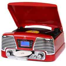 GPO MEMPHIS RED, 4 IN 1 VINYL TURNTABLE, CD PLAYER, MP3 PLAYER, FM RADIO