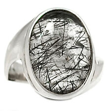 Tourmalated Quartz (Black Rutile) 925 Sterling Silver Ring Jewelry s.8 BRUR690