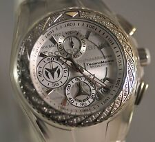 New Womens Technomarine 115383 Cruise Glitz Chrono Silver Dial Silicone Watch