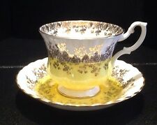 Royal Albert Regal Series Yellow Gold White Cup Saucer England