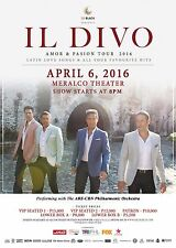 "IL DIVO ""AMOR & PASSION TOUR 2016"" MANILA CONCERT POSTER - Classical Crossover"
