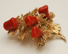 VINTAGE GROSSE 1967 Germany Gold Tone Coral Brooch Pin_Signed