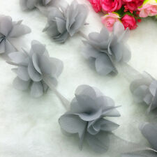 New Hot 1 Yard Gray Flower Chiffon Wedding Dress Bridal Fabric Lace Trim