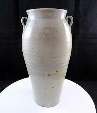 "STUDIO ART POTTERY ""J"" SIGNED GREY SPOTTED WHEEL THROWN HANDLED 9 1/2"" VASE"