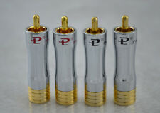 4pcs 8mm Pailiccs Gold plated RCA Plug Cable Connector RCA male adapter